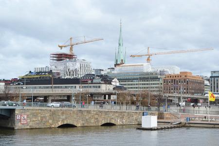 STOCKHOLM, SWEDEN - APRIL 19, 2015: View of embankment in center part of Stockholm. Norrmalm (Stockholm area). Editorial