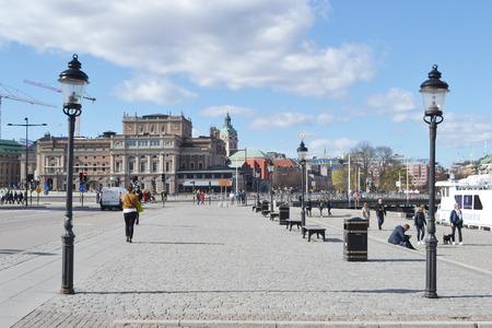 norrmalm: STOCKHOLM, SWEDEN - APRIL 19, 2015: Embankment in center of Stockholm.