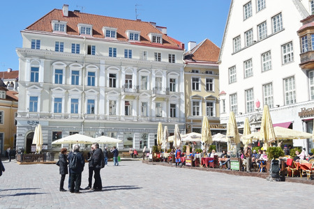 town hall square: TALLINN, ESTONIA - APRIL 20, 2015: Town Hall Square in center of Tallinn. Editorial