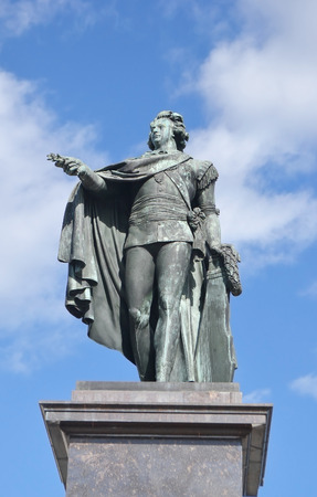 commanding: Bronze statue of the king Gustaf 3 in Stockholm, Sweden.