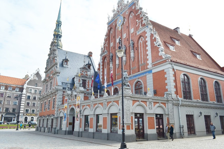 RIGA, LATVIA - APRIL 18, 2015: House of the Blackheads in old town of Riga, Latvia.