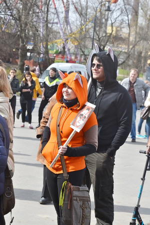 parody: ST.PETERSBURG, RUSSIA - MAY 1, 2015: Action Monstration 2015 in St.Petersburg. The essence of the event - an absurd procession, a parody of the traditional May Day demonstration.