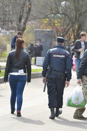 militiaman: ST.PETERSBURG, RUSSIA - MAY 1, 2015: Russian police officers on the street. Editorial