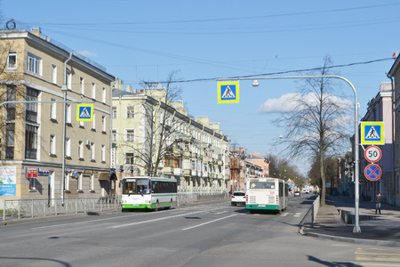 suburb: KOLPINO, RUSSIA - MAY 3, 2015: Street in the historic center of Kolpino, a suburb of St. Petersburg. Editorial