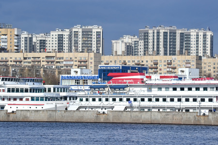 outskirts: ST.PETERSBURG, RUSSIA - APRIL 25, 2015: Bank of the river Neva on the outskirts of St. Petersburg.