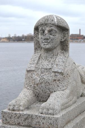 esfinge: Esfinge de piedra en el terrapl�n en San Petersburgo, Rusia.