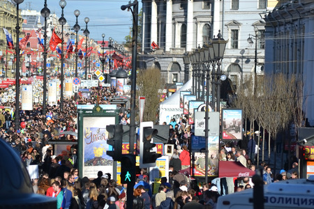 prospect: ST.PETERSBURG, RUSSIA: - MAY 9, 2015: Spectators Victory Parade on Nevsky Prospect. The celebration of 70 anniversary of Victory in the Great Patriotic War.