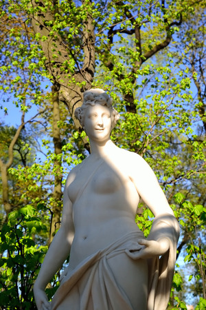 muse: Statue of Thalia, muse of comedy. Summer Garden, St.Petersburg, Russia.