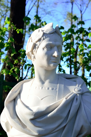 statesman: Statue of Gaius Iulius Caesar in Summer Garden, St.Petersburg, Russia. Roman statesman and political figure. Editorial