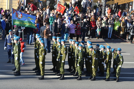 ST.PETERSBURG, RUSSIA: - MAY 9, 2015: The soldiers of the Airborne troops on Victory parade. The celebration of 70 anniversary of Victory in the Great Patriotic War.