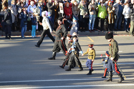 cossack parade: ST.PETERSBURG, RUSSIA: - MAY 9, 2015: Russian Cossacks on Victory parade. The celebration of 70 anniversary of Victory in the Great Patriotic War.