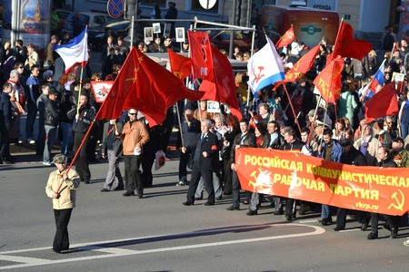 nevsky prospect: ST.PETERSBURG, RUSSIA: - MAY 9, 2015: Communist demonstration on the Nevsky Prospect on the day of the victory in World War II. Editorial