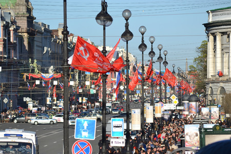 nevsky prospect: ST.PETERSBURG, RUSSIA: - MAY 9, 2015: Nevsky Prospect after Victory parade in St.Petersburg. The celebration of 70 anniversary of Victory in the Great Patriotic War.