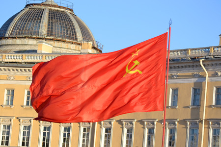 soviet flag: The flag of the Soviet Union on the streets of St. Petersburg, Russia.