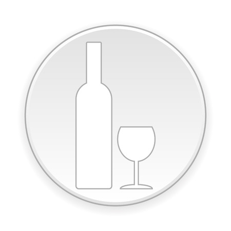glasse: Bottle and glasse button on white