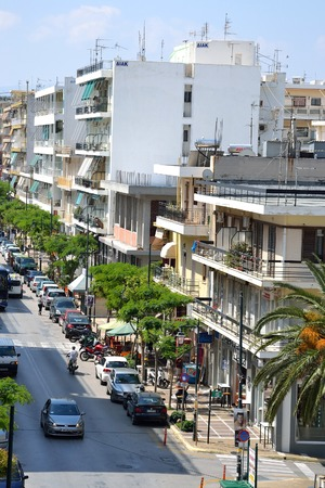 is well known: LOUTRAKI, GREECE - 31 MAY, 2015: Street in Loutraki. Loutraki - resort city, which is well known in Greece because of its mineral springs.
