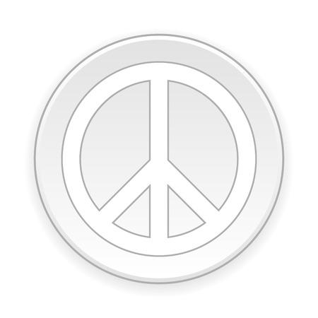 reconciliation: Peace symbol button on white background. Vector illustration.