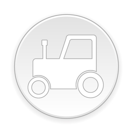 plow: Tractor button on white background. Vector illustration.