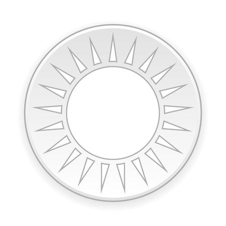 lighting button: Sun button on white background. Vector illustration.