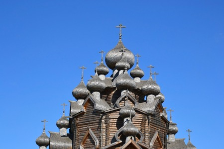 intercession: Church of the Intercession in the style of Russian wooden architecture in the Nevsky Forest Park in St. Petersburg.