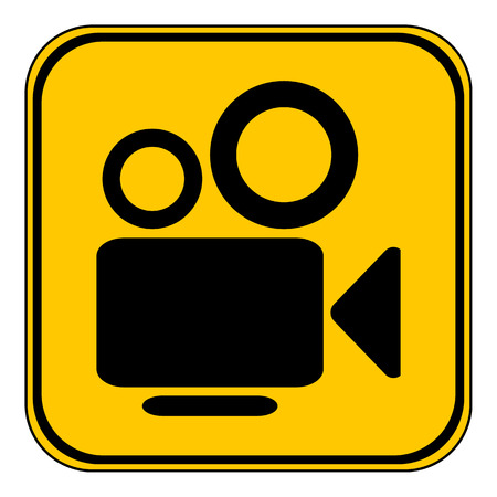 gold record: Video camera button on white background. Vector illustration. Illustration