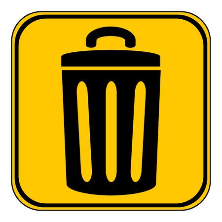 environmentalist: Garbage button on white background. Vector illustration.