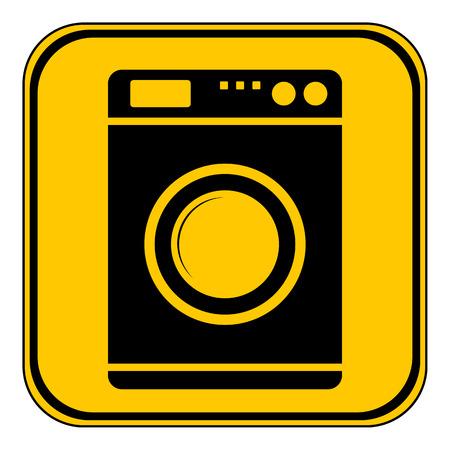 consumer society: Washing machine button on white background. Vector illustration.