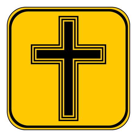 miracle square: Religious cross button on white background. Vector illustration. Illustration