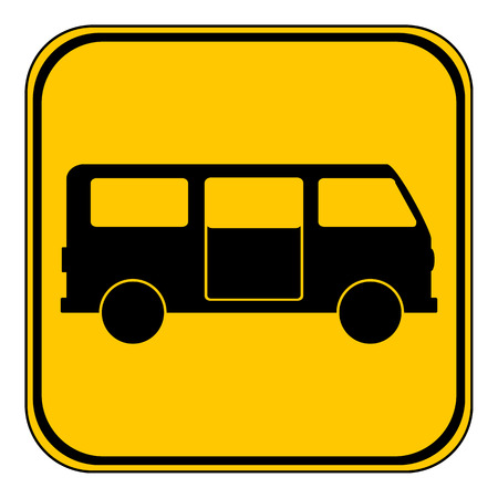 family van: Minibus button on white background. Vector illustration.