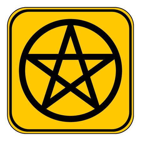 pentacle: Pentagram button on white background. Vector illustration. Illustration