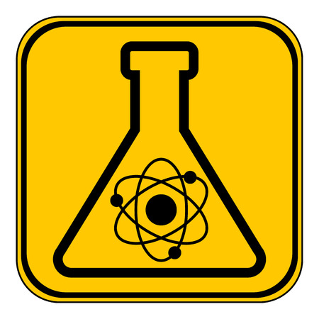 yellow lab: Laboratory glass button on white background. Vector illustration.