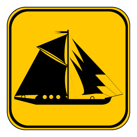 yellow adventure: Sailing ship button on white background. Vector illustration. Illustration