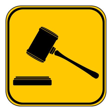 judge gavel: Judge gavel button on white background. Vector illustration.