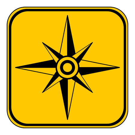 yellow adventure: Compass button on white background. Vector illustration.
