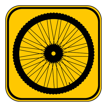 vector wheel: Bicycle wheel button on white background. Vector illustration. Illustration