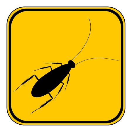disgust: Cockroach button on white background. Vector illustration.
