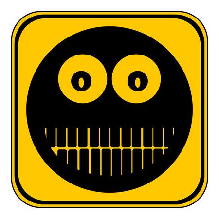 friendliness: Sonrisa cara botón círculo sobre fondo blanco. Ilustración del vector.
