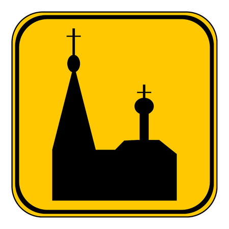 slavonic: Orthodox church button on white background. Vector illustration.