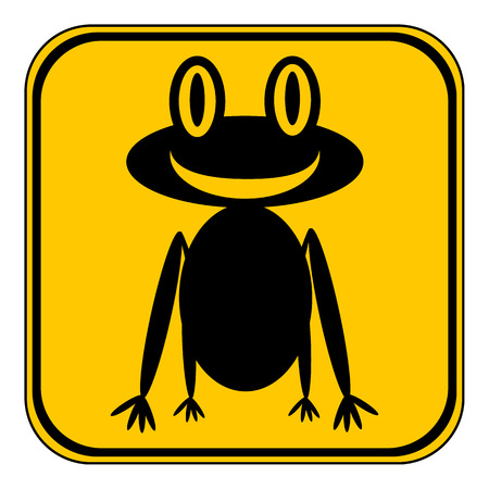croaking: Frog button on white background. Vector illustration. Illustration