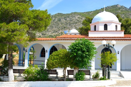 pacification: The Orthodox Church Ekklisia Agios Fanourios in Loutraki, Greece.