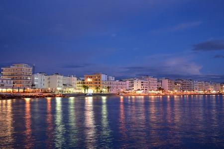 embankment: Embankment in Loutraki at night, Greece.