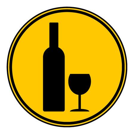 glasse: Bottle and glasse button on white background. Vector illustration.