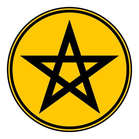 satan: Botón del Pentagram en el fondo blanco. Ilustración del vector.