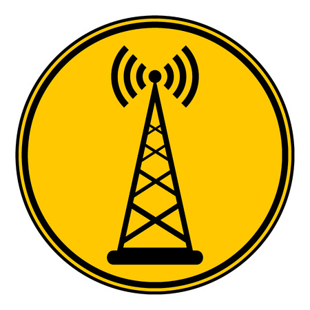 cellular repeater: Transmitter button on white background. Vector illustration.