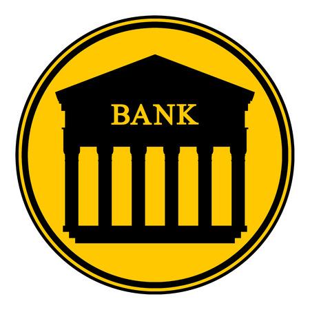 roman column: Bank button on white background. Vector illustration.