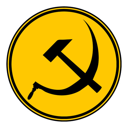 hammer and sickle: Hammer and sickle sign button on white background. Vector illustration. Illustration