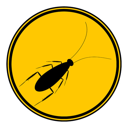 cockroach: Cockroach button on white background. Vector illustration.