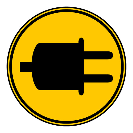 power cord: Power cord sign button on white background. Vector illustration.