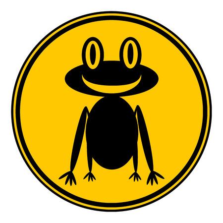 animals amphibious: Frog button on white background. Vector illustration. Illustration