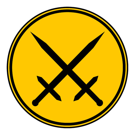 crossed swords: Bot�n espadas cruzadas sobre fondo blanco. Ilustraci�n del vector.